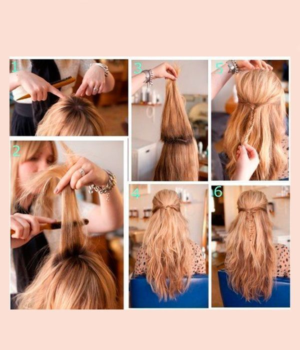 Из верхней части волос заплетите тонкую косичку, предварительно закрутив пряди жгутом у висков. Придайте волосам объем. Распушите косичку, вытягивая пряди.