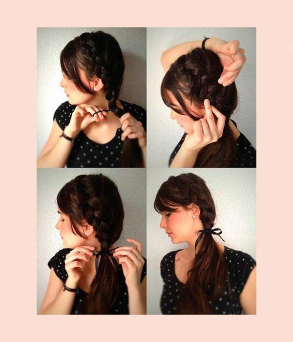 Слегка вытягивайте пряди из косички. Около шеи закрепите косу резинкой. Можно украсить прическу цветком или заколкой.