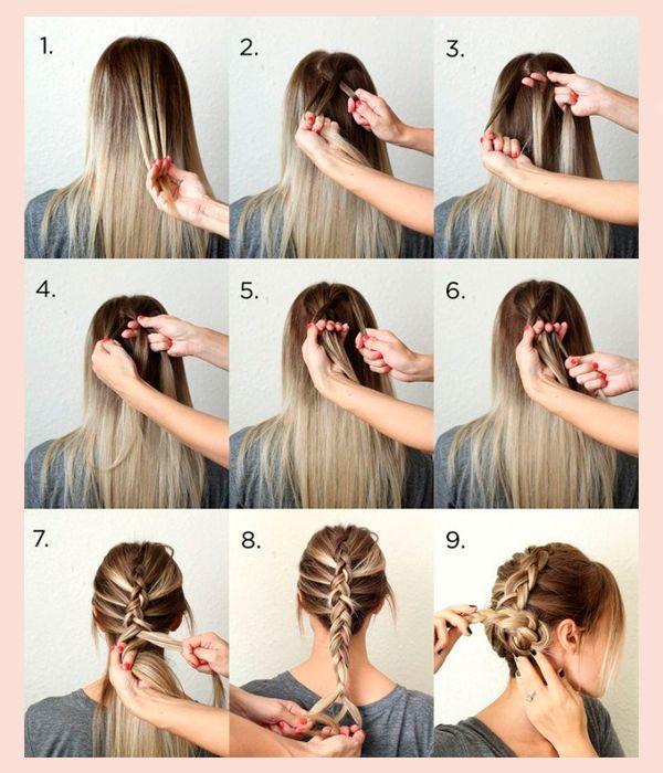 Сплетите обратную французскую кос, начиная от лба. Закрутите ее конец в гульку. Прическа готова. для того, чтобы она выглядела более объемно, вытягивайте из косички пряди.