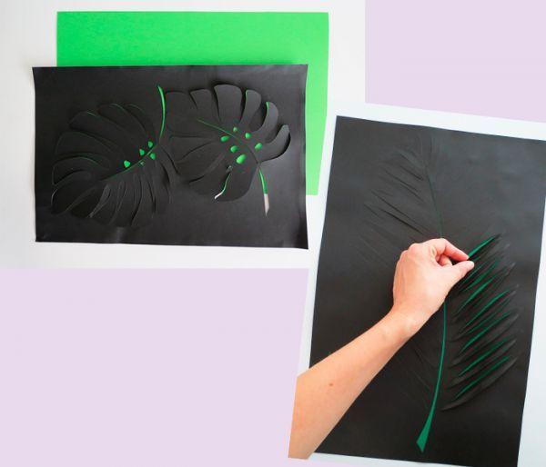 Сделайте надрезы так, как показано на фото, с помощью маникюрных ножниц или острого канцелярского ножа. На обратную сторону приклейте лист бумаги зеленого цвета.