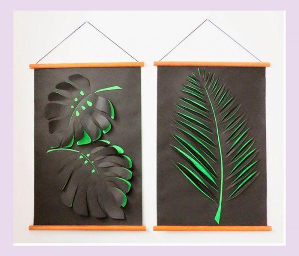 Для таких панно вам понадобятся: цветная бумага черного и зеленого цветов, острые ножницы, клей ПВА, тонкие планки, шнур для подвешивания.