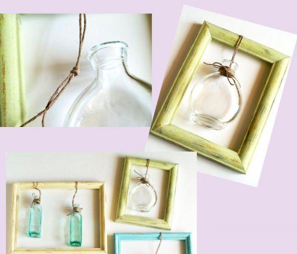 Другим концом бечевки привяжите вазу с узким горлом к рамке. Наберите в вазу воду и поставьте цветок. Панно готово! Можно вешать его на стену.