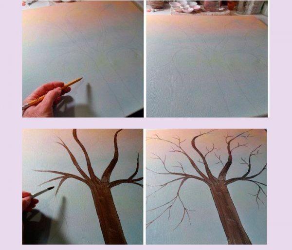 Нарисуйте простым карандашом контур ствола на холсте. Раскрасьте его акриловой краской коричневого цвета. Приступаем к декору.