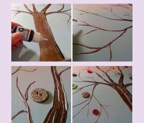 Вместо листьев приклейте к нарисованному дереву разноцветные пуговицы. Наше панно готово! Можно украсить им спальню, гостиную или детскую.