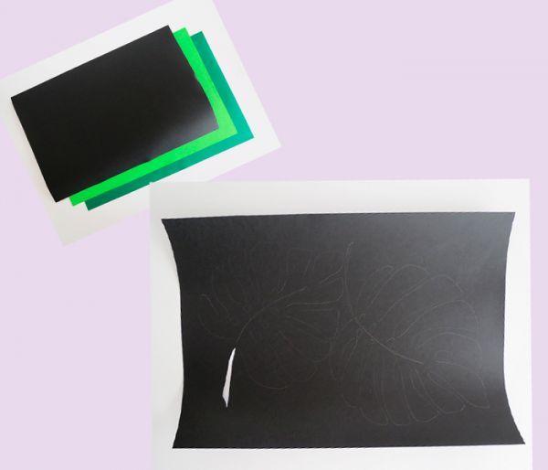 Изобразите на бумаге черного цвета лист монстеры. Если вы не умеете хорошо рисовать, можно для этой цели воспользоваться принтером.