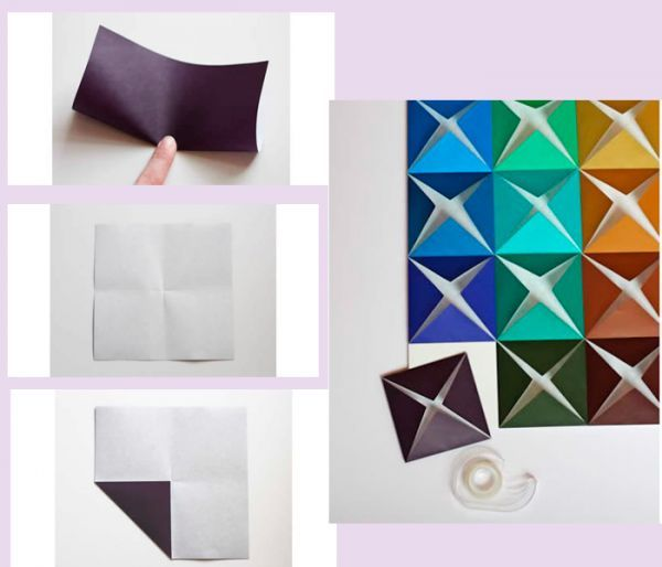 Разрежьте цветную бумагу на квадраты одинакового размера. Сложите их так, как показано на фото. Приклейте получившиеся фигуры на основу, одна возле другой. Панно готово.