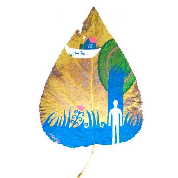 Кисточка для росписи листьев должна быть тонкой. Чем меньшего размера листок вы используете, тем тоньше кисть должны быть. И наоборот.