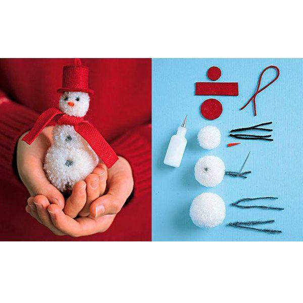 Соедините три помпона между собой (как их делать - вы видели на одном из предыдущих фото) . Из фетра сделайте шляпку и шарф. Пуговки - это узелки из черной нитки. Снеговик готов!