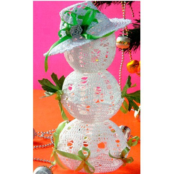 Снеговик связан крючком №0,9 из пряжи Ирис. Высота снеговика 24 см. Схема для вязания представлена на следующем фото.