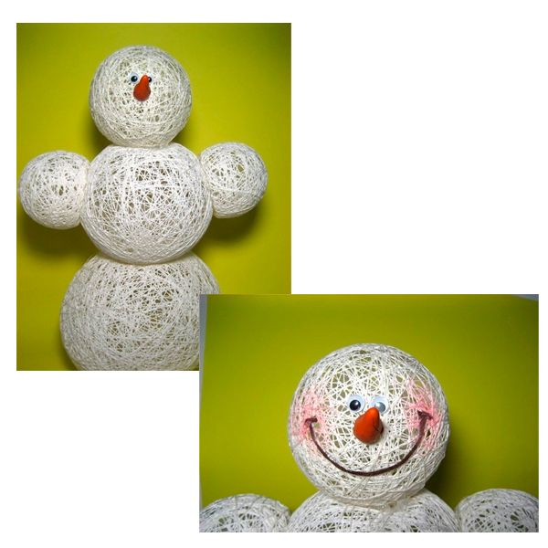 Вытащите лопнутые шарики.Теперь вам нужно скрепить все детали снеговичка, для этого их нужно пришить или приклеить. Для лучшего соединения шаров одну сторону аккуратно вдавите вовнутрь.