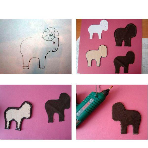 Нарисуйте контур барашка. Вырежьте его. Сделайте заготовки из картона и ткани, как это показано на фото.