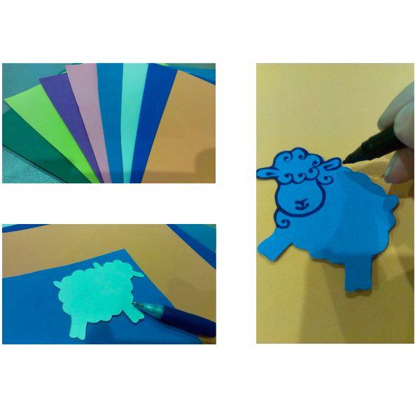 Необходимо приложить шаблон овечки к выбранному цвету, обвести. Вырезать по нарисованному контуру. Цвет можно использовать любой. Но, согласно календарю, будет властвовать Зеленая Овечка.