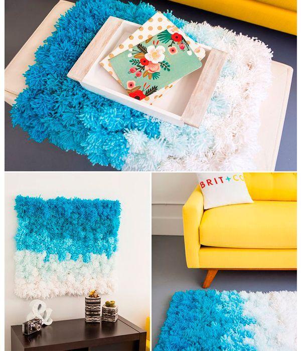 Для создания такого коврика вам понадобится: около 10 мотков пряжи, основа для ковра (ткань или сетка), ножницы, линейка, карандаш.