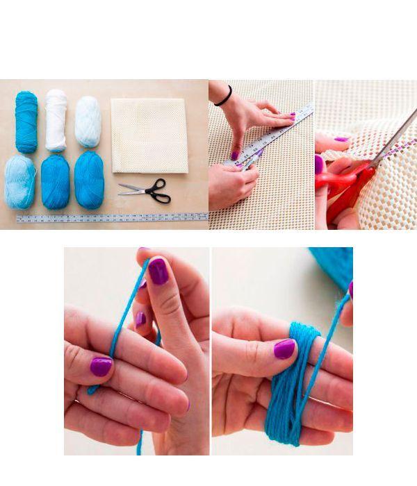 Для начала необходимо сделать основу для коврика. Для этого вам понадобится линейка, карандаш и ножницы. Нарисуйте желаемую форму, после чего вырежьте. Приступите к изготовлению помпонов.