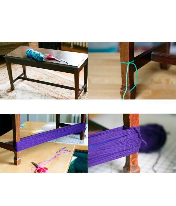 Привяжите нить к ножке стула. Обматывайте ею по периметру стола, пока не закончатся нитки в катушке. Закрепите нить узлом.