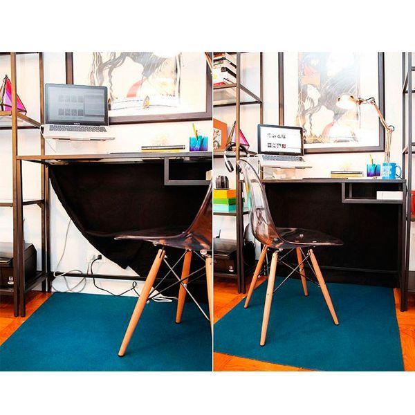 За каждым рабочим столом, на котором стоит компьютер, располагается целая паутина из проводов. Чтобы они не бросались в глаза, достаточно взять отрез темной ткани и закрыть ей пространство стены за столом.