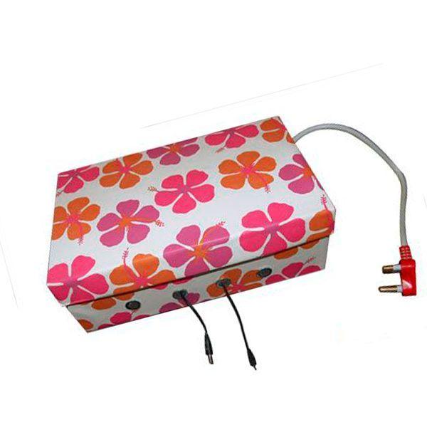 Провода от компьютера или ноутбука можно спрятать в коробку из под обуви. Чтобы она смотрелась более эстетично, можно обклеить ее цветной бумагой или остатками обоев. Получается очень интересно!