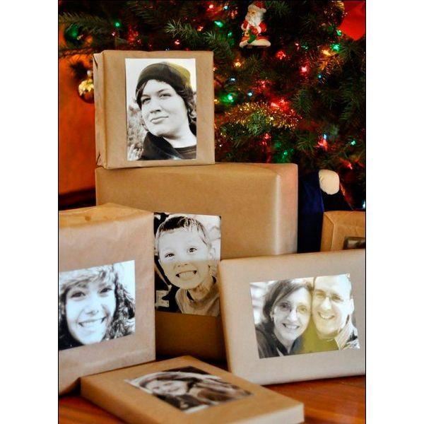 Подарок станет особенным, если украсить его упаковку фотографией получателя. Черно-белое фото будет стильно смотреться на фоне оберточной бумаги однотонного цвета.