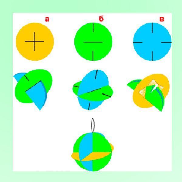 Вам понадобится вырезать 3 круга одинакового диаметра. Сделать надрезы и сложить круги между собой так, как показано на этом фото.
