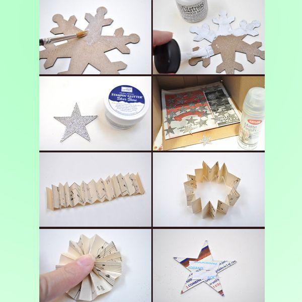 Покройте снежинку краской. Вырежьте звезду, покройте ее серебристым глиттером. Из бумаги сделайте гармошку.
