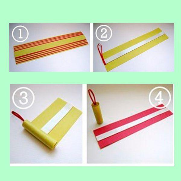 Необходимо нарезать бумагу на полоски одинаковой длины, но разной ширины, и сложить их друг на друга от самой широкой до самой узкой. Скручиваем их в трубочку.