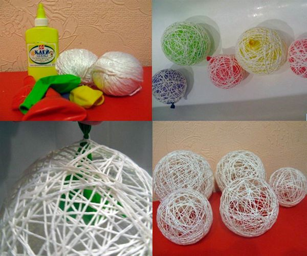 Надуваем шарик нужного нам размера и обматываем ниткой, предварительно смоченной клеем ПВА. Удобнее всего это делать с помощью обрезанной пластиковой бутылки. Даем шарам высохнуть, шарик прокалываем и извлекаем. Декорируем.