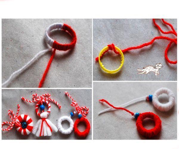 Оберните колечко от пластиковой бутылки нитками. Декорируйте так, как показано на фото. Не забудьте украсить игрушку крупными бусинами. Они придают изделию особый шарм. Сделайте петельку. Елочная игрушка готова!