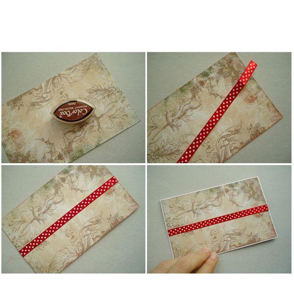 Акварельную бумагу складываем пополам. Далее возьмем красную атласную ленту в белый горошек (фото №3) и приклеим ее ровно посередине новогодней скрап-бумаги, загнув концы ленты под саму бумагу (фото №4).