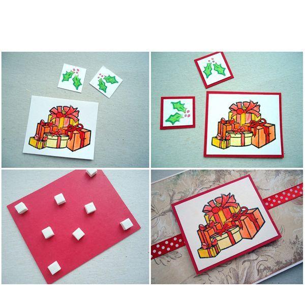 Далее возьмем изображение новогодних подарков и два одинаковых изображения новогодних веток. Приклеим их на красную бумагу для подложки и аккуратно вырежем, что бы красная бумага выступала по краям каждого изображения.