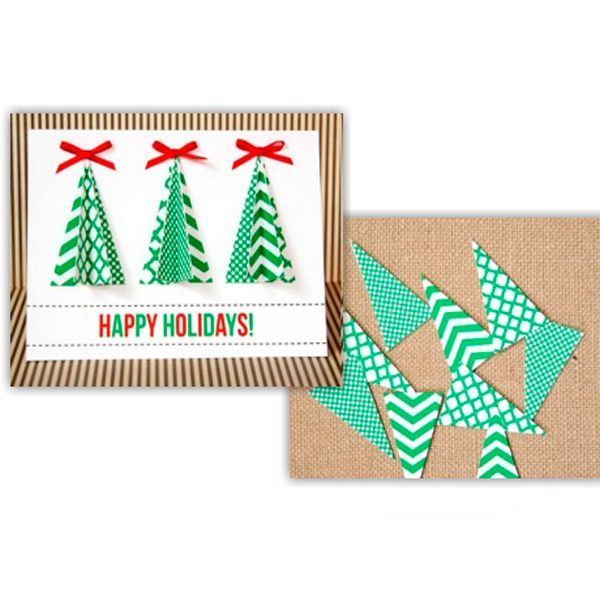 Открытку с объемными елочками сделает даже школьник. Вам понадобится: основа для открытки (лист картона), распечатанный шаблон, клей, бантики из атласных лент, клей ПВА.