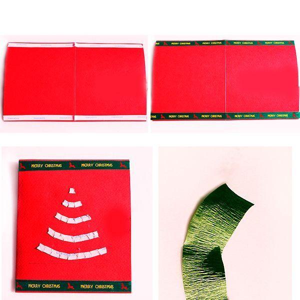 Сложите прямоугольный лист красного картона пополам. Приклейте на него полоски двухстороннего скотча так, как показано на этом фото. Гофрированную бумагу нарежьте на полосы.
