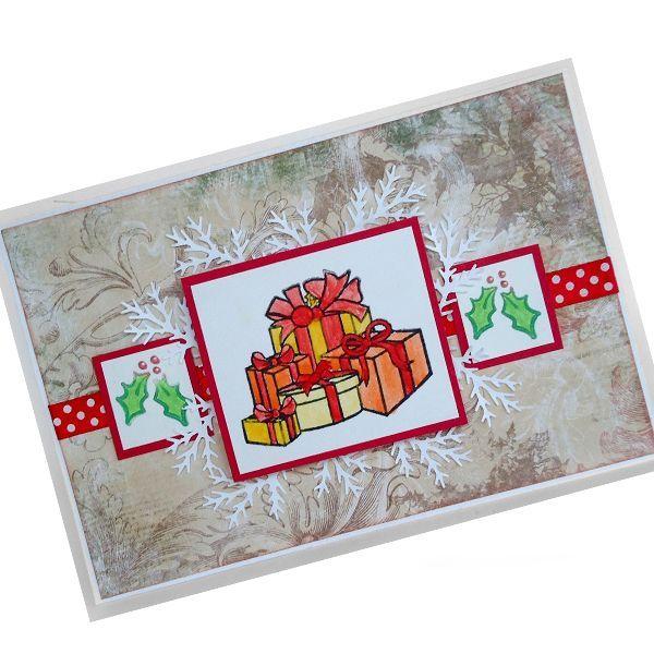 Для того чтобы сделать такую открытку, нам будут нужны: акварельная бумага для основы открытки, скрап-бумага, изображение новогодних подарков и еловых веточек, атласная лента, красная бумага для подложки, жидкий жемчуг, объемный скотч, клей.
