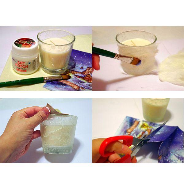Сначала рисовую бумагу нужно нарвать крупными кусками. Затем начнём оклеивать нашу свечу: берём один кусочек бумаги, прикладываем к стакану и приклеиваем его движениями кисти от центра к краям.