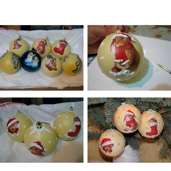 Для шариков с зайчиками наводим светло-желтую краску и чпокаем по белому фону вокруг мотива. Когда краска просохнет покрываем шарик лаком. Получались вот такие красивые шарики.