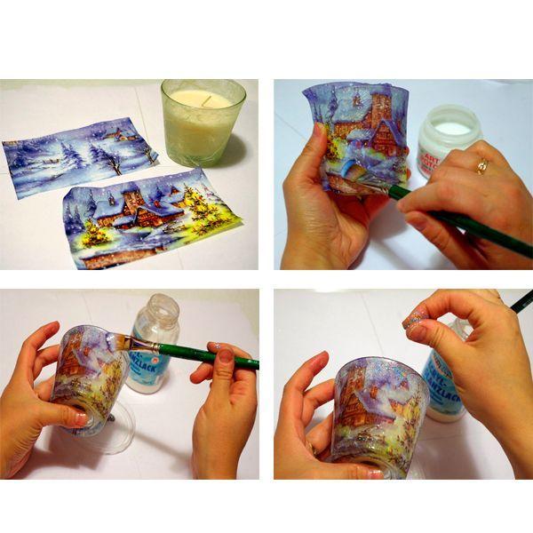 Аккуратно отделите верхний красивый слой от салфетки. Приклеивать мы будем только его. Приложите полоску к свече и быстрыми движениями приклейте её с помощью клея для декупажа. Воспользуйтесь плоской синтетической кистью: она достаточно мягкая, чтобы не порвать салфетку, и достаточно упругая, чтобы крепко прижать салфетку к поверхности. Просушите вашу работу минут 20–30.