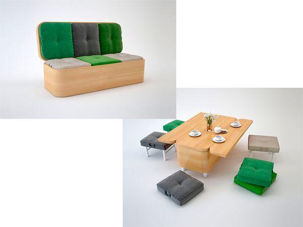 Легким движением руки обычный диван превращается в большой стол и пуфики. Очень удобное решение, не правда ли?