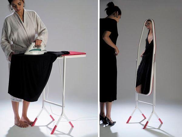 Часто женщины не могут найти удобного места для хранения гладильной доски. Если с обратной стороны будет зеркало, доску можно использовать в качестве стильного и функционального предмета интерьера.