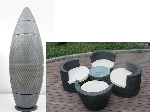 Если собрать столик и стулья в единую композицию, можно использовать ее в качестве декора на даче, например. Очень стильно, красиво и невероятно удобно.