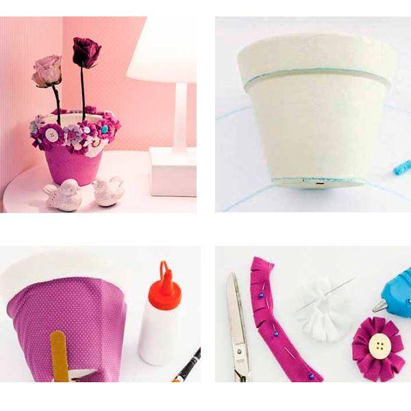 Этот горшок мы будем оклеивать тканью и декорировать цветами из ткани. Сначала сделаем выкройку на бумаге. По выкройке отрезаем ткань, намазываем клеем ПВА наш старый горшок и оклеиваем его тканью. Из фетра или другой плотной ткани делаем цветы. Закрепляем цветок на пуговицу и готовый цветы клеим к верхней части горшка.