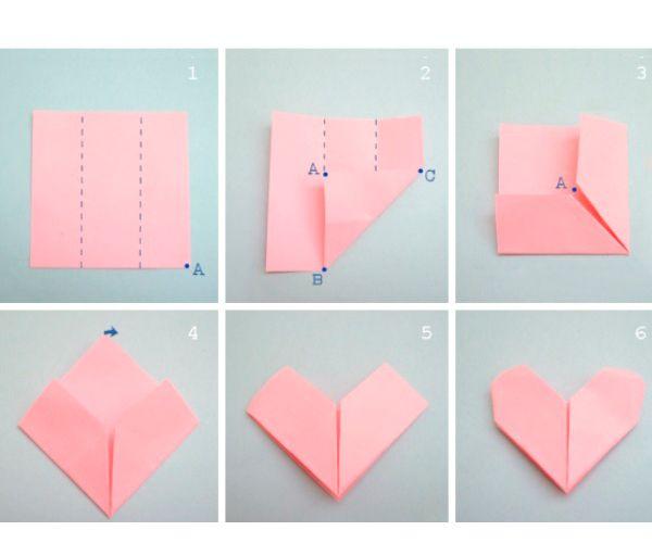 Возьмите лист бумаги и поделите его на три равные части. Загните уголки до пересечения. Поверните лист. Верхний угол отогните назад. Отогните уголки так, чтобы получилось закругление.