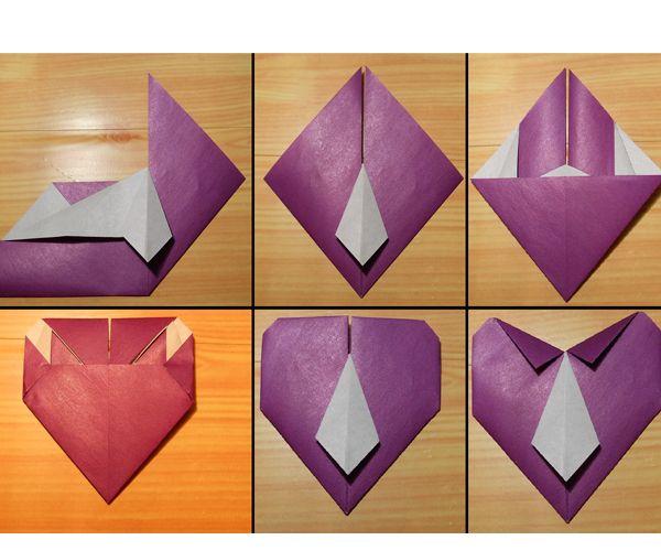 По диагональной линии перегнем правую часть заготовки так, чтобы нижняя кромка совместилась с вертикальной осью. Складываемую часть заправим под галстук. Аналогично сложим левую часть.