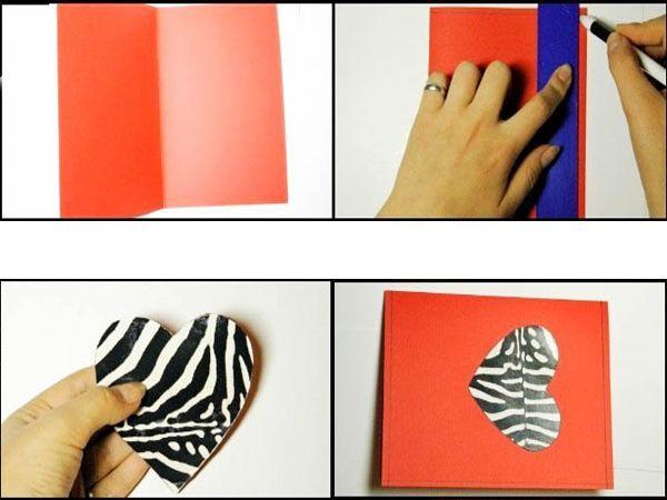 Ярко-красный картон размером А4 сгибаем аккуратно пополам. Рисуем сердце сначала карандашом, потом вырезаем ножницами. Приклеиваем на основу.
