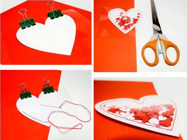 Приклеим сердечко к основе. Наша открытка ко Дню Святого Валентина готова!