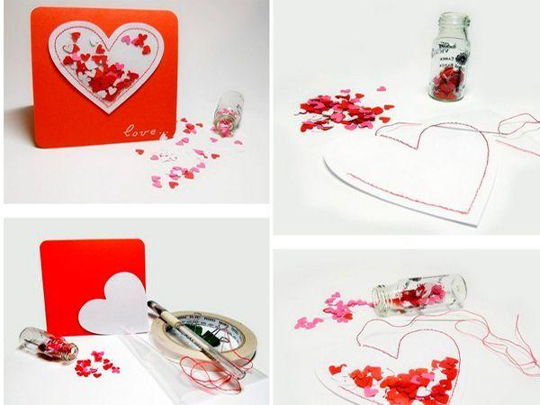 Чтобы сделать открытку с бумажными сердечками, понадобится картон красного цвета, белая бумага, пленка, сердечки, клей, нитки. Сделаем кармашек в виде сердца с помощью швейной машинки из бумаги и пленки. Внутрь насыпем сердечки из бумаги.