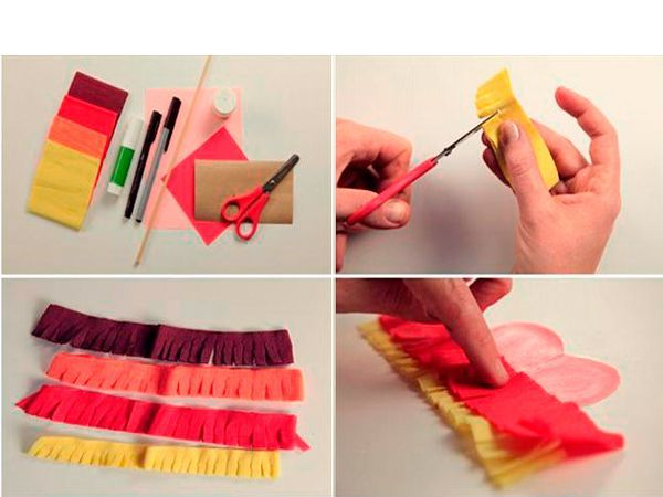 Нарежем из гофрированной бумаги полоски одинакового размера. Сделаем на них бахрому так, как показано на фото. Приклеим к сердечку внахлест, края обрежем.