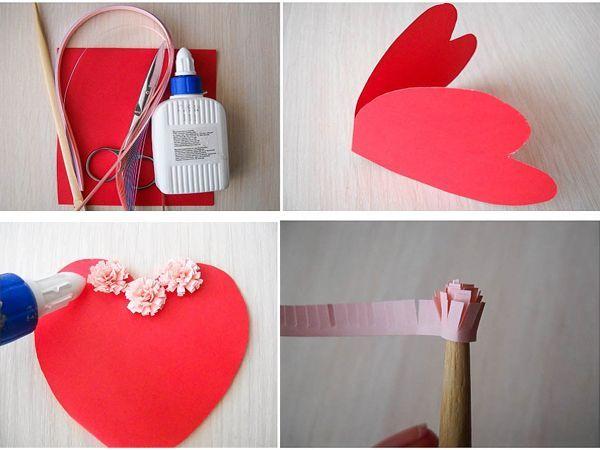 Подготовим лист картона красного цвета. Согнем его пополам и по шаблону, который нарисовали заранее, вырежем сердечко с учетом того, чтобы оно открывалось, как открытка.