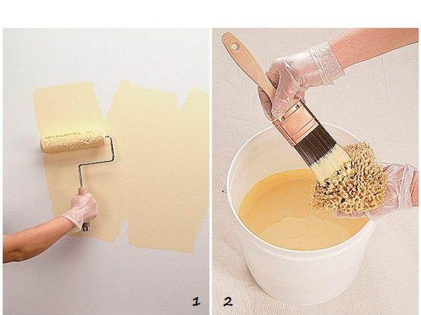 Нанесите слой краски валиком на стену. Кисточкой нанесите краску на губку. Лучше, если она будет более темного оттенка.