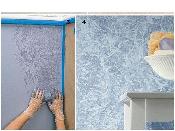 Прикладывайте скомканную тряпку к стене так, чтобы отпечатывалась краска. Следите, чтобы фактура была равномерной.