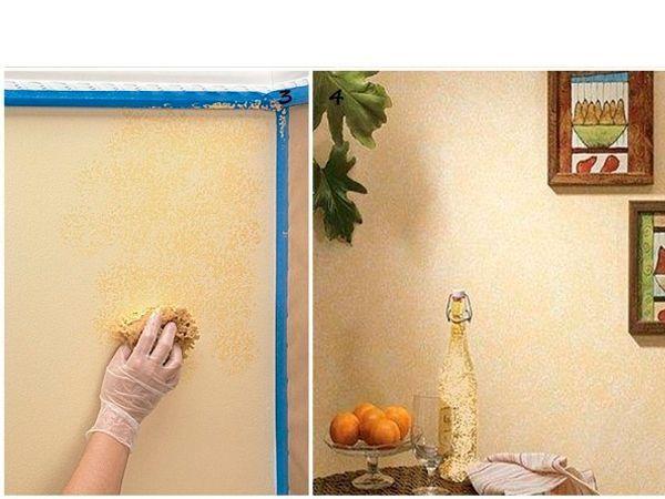 Точечными движениями нанесите краску с губки на стену. Важным достоинством такой техники можно считать то, что она помогает зрительно увеличить пространство комнаты.