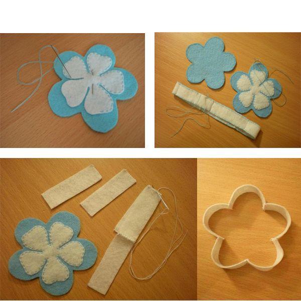 Заготовим детали: 2 цветка и полоску шириной около 2 см. Согнем полоску так, чтобы она повторяла контур цветка.